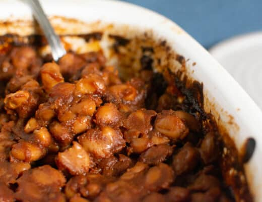 Beans in casserole dish